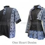 Batik Sarimbit One Heart Denim Perpaduan Denim & Batik yang Elegan