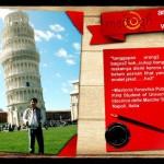 Masteria dengan Jaket Batik Medogh di depan Menara Pisa Italy